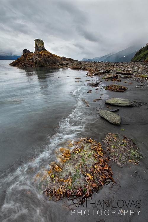 Seward Alaska shoreline with rocks just before storm;  Seward Alaska.