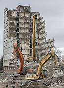 After housing UW students for six decades after its 1953 opening, Terry Hall near UW's campus was demolished to make way for the new Maple and Terry residential halls.<br /> (Steve Ringman / The Seattle Times, 2014)