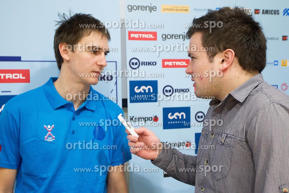 Sebastian Skube and Nejc Strojnik at training camp of Slovenian Handball National team before World Cup 2013 in Spain, on December 28, 2012 in Hotel Dobrava, Zrece, Slovenia. (Photo By Vid Ponikvar / Sportida.com)