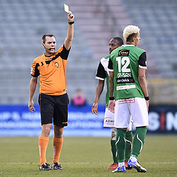 February 17, 2018 - Brussels, BELGIUM - Cercle's Queiroz Barcelos Crysan receives a yellow card from referee Denis Vanbecelaere during a soccer game between Union Saint-Gilloise and Cercle Brugge, in Brussels, Saturday 17 February 2018, on day 27 of the division 1B Proximus League competition of the Belgian soccer championship. BELGA PHOTO YORICK JANSENS (Credit Image: © Yorick Jansens/Belga via ZUMA Press)