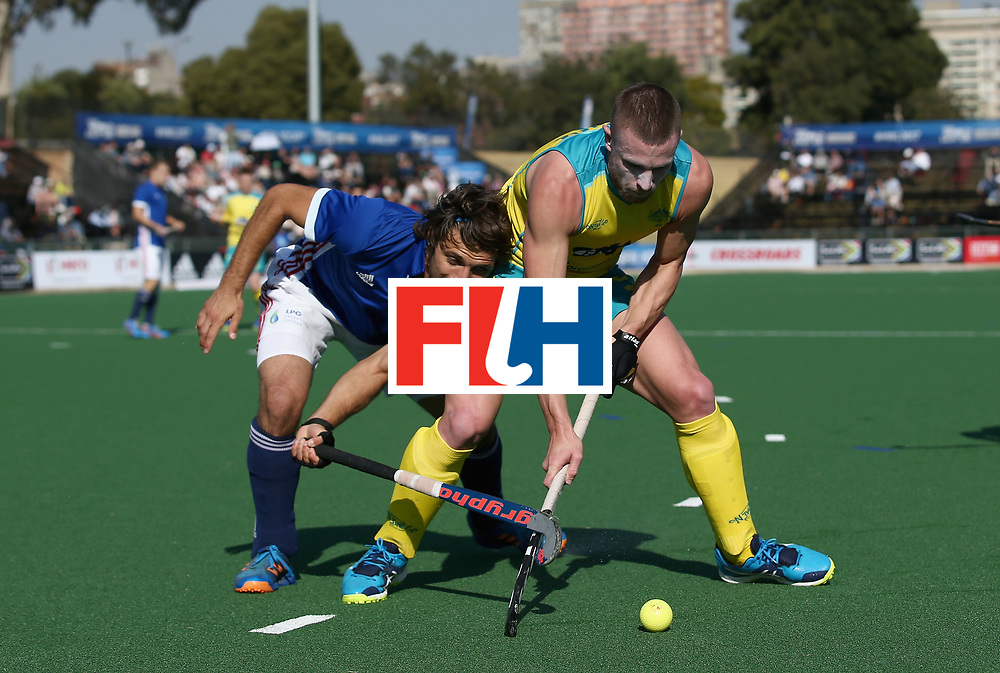 JOHANNESBURG, SOUTH AFRICA - JULY 11: Guillaume Deront of France and Tom Wickham of Australia battle for possession during day 2 of the FIH Hockey World League Semi Finals Pool A match between Australia and France at Wits University on July 11, 2017 in Johannesburg, South Africa. (Photo by Jan Kruger/Getty Images for FIH)