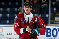 KELOWNA, CANADA - MARCH 9: Nolan Foote #29 of the Kelowna Rockets stands on the ice during warm up against the Kamloops Blazers  on March 9, 2019 at Prospera Place in Kelowna, British Columbia, Canada.  (Photo by Marissa Baecker/Shoot the Breeze)
