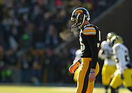 November 23 2013: Iowa Hawkeyes kicker Mike Meyer (96) lines up for the opening kickoff with temperatures in the 20s and windchill in the single digits during the first quarter of the NCAA football game between the Michigan Wolverines and the Iowa Hawkeyes at Kinnick Stadium in Iowa City, Iowa on November 23, 2013. Iowa defeated Michigan 24-21.