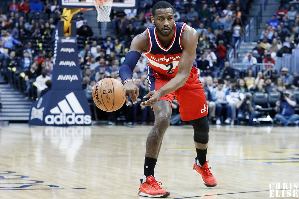 08 March 2017: Washington Wizards guard John Wall (2) passes the ball during the Washington Wizards 123-113 victory over the Denver Nuggets, at the Pepsi Center, Denver, Colorado, USA.