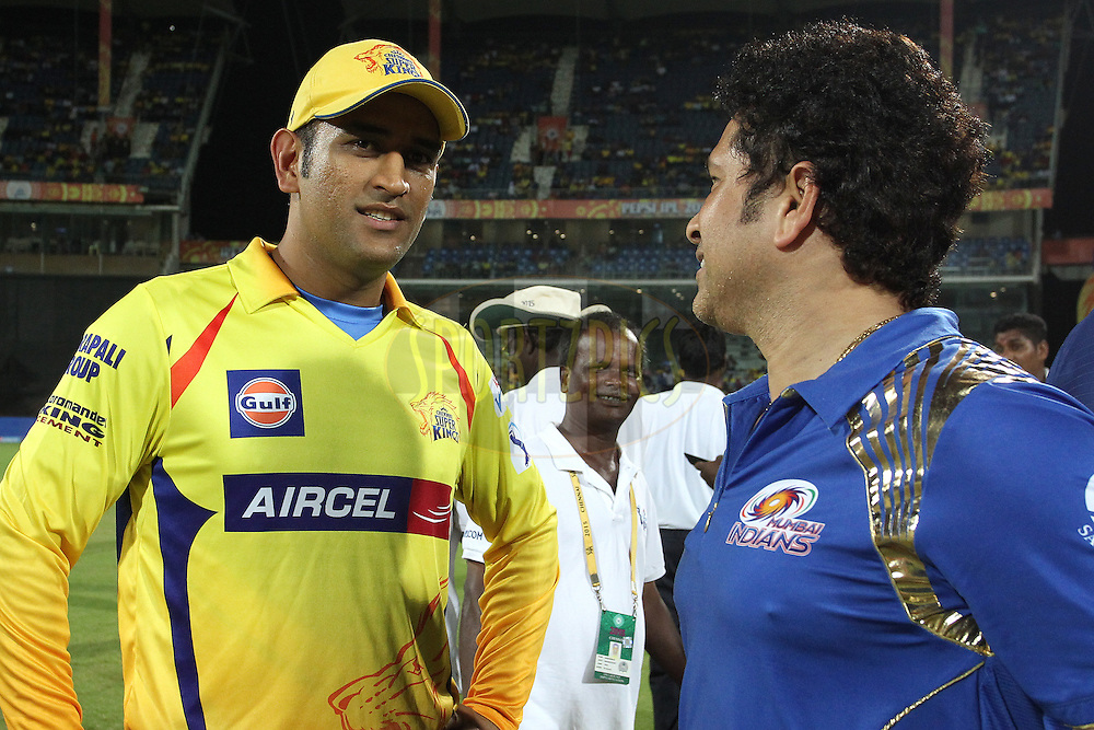 Chennai Super Kings Captain MS Dhoni chats to Sachin Tendulkar during match 43 of the Pepsi IPL 2015 (Indian Premier League) between The Chennai Super Kings and The Mumbai Indians held at the M. A. Chidambaram Stadium, Chennai Stadium in Chennai, India on the 8th May April 2015.<br /> <br /> Photo by:  Shaun Roy / SPORTZPICS / IPL