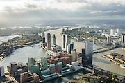 Nederland, Zuid-Holland, Rotterdam, 23-10-2013; zicht op Rotterdam-Zuid met e Laan op Zuid en de Kop van Zuid.  Links Rijnhaven en Katendrecht. Rivier de Nieuwe Maas in het verschiet.<br /> Rotterdam South, former harbour, newly developed architecture.<br /> luchtfoto (toeslag op standard tarieven);<br /> aerial photo (additional fee required);<br /> copyright foto/photo Siebe Swart