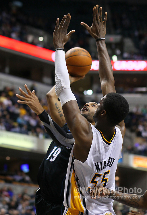 Feb. 11, 2011; Indianapolis, IN, USA; Minnesota Timberwolves guard Wayne Ellington (19) goes up for a shot while being defended by Indiana Pacers center Roy Hibbert (55) at Conseco Fieldhouse. Mandatory credit: Michael Hickey-US PRESSWIRE