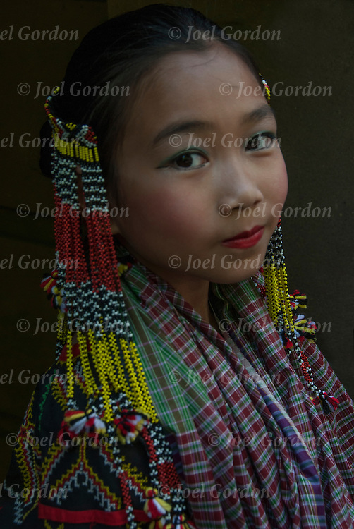 Close up portrait of Filipino young girl in folk costume at the  Philippine Independence Day Parade.