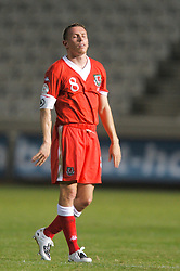 Nicosia, Cyprus - Saturday, October 13, 2007: Wales' captain Craig Bellamy looks dejected after the 3-1 defeat at the hands of Cyprus during the Group D UEFA Euro 2008 Qualifying match at the New GSP Stadium in Nicosia. (Photo by David Rawcliffe/Propaganda)