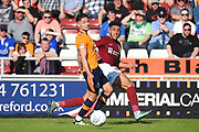 Northampton Town midfielder Daniel Powell (11) crosses during the EFL Sky Bet League 1 match between Northampton Town and Oldham Athletic at Sixfields Stadium, Northampton, England on 5 May 2018. Picture by Dennis Goodwin.