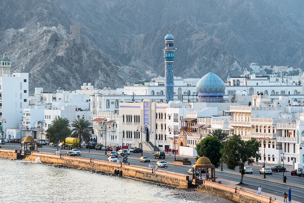 Muscat, Oman - Muttrah corniche (waterfront) Mountains and town on the water in Oman