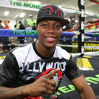 LAS VEGAS, NV - APRIL 14: Zab Judah poses as WBC/WBA welterweight champion Floyd Mayweather Jr. works out at the Mayweather Boxing Club on April 14, 2015 in Las Vegas, Nevada. Mayweather will face WBO welterweight champion Manny Pacquiao in a unification bout on May 2, 2015 in Las Vegas.  (Photo by Alex Menendez/Getty Images) *** Local Caption *** Floyd Mayweather Jr., Zab Judah