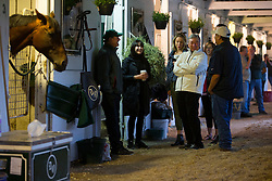 Kentucky Derby 142 winner Nyquist's owner Paul Reddam (White coat) talks with his family and members of Team O'Neill at his barn on the backside the morning after the race, Sunday, May 08, 2016 at Churchill Downs in Louisville.