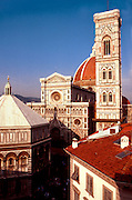 ITALY, FLORENCE Cathedral of Santa Maria del Fiore (Duomo) built 1296-1434 with marble mosaic facade from the 19thC and the Baptistery