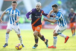 Sergio Aguero of Manchester City takes on Tommy Smith of Huddersfield Town - Mandatory by-line: Robbie Stephenson/JMP - 20/01/2019 - FOOTBALL - The John Smith's Stadium - Huddersfield, England - Huddersfield Town v Manchester City - Premier League