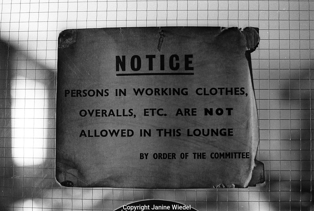Notice on door of lounge entrace to pub in Small town of Shilden in County Durhan in the North of England where unemployment hit hard in the mid-1980s