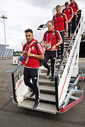LILLE, FRANCE - Wednesday, June 15, 2016: Wales' Neil Taylor arrives in at Lille Lesquin International Airport as for their Group Stage MD 2 game of the UEFA Euro 2016 Championship against England. (Pic by David Rawcliffe/Propaganda)