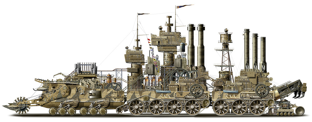 Super sized Steampunk illustration of a Victorianesque amphibious steam powered road construction vehicle. Created with over 18,000 original illustrations and photo-composite elements