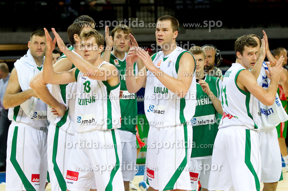 Goran Jagodnik, Zoran Dragic, Matjaz Smodis, Uros Slokar, Goran Dragic of Slovenia after the basketball match between National teams of Slovenia and Bulgaria in Group D of Preliminary Round of Eurobasket Lithuania 2011, on August 31, 2011, in Arena Svyturio, Klaipeda, Lithuania.   Slovenia defeated Bulgaria 67 - 59. (Photo by Vid Ponikvar / Sportida)