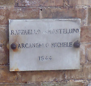 The plaque for Raffaello da Montelupo's 'Arcangelo Michele' (St. Michael). Circa 1536-1544. Made for the top of the Castel Sant'Angelo, Rome, Italy.
