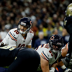 Oct 29, 2017; New Orleans, LA, USA; Chicago Bears quarterback Mitchell Trubisky (10) at the line against the New Orleans Saints during a game at the Mercedes-Benz Superdome. The Saints defeated the Bears 20-12. Mandatory Credit: Derick E. Hingle-USA TODAY Sports