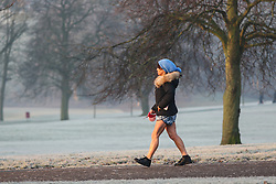 © Licensed to London News Pictures. 24/01/2017. Leeds, UK. A woman dressed in shorts walks her dog on a bitterly cold and frosty morning at Roundhay Park in Leeds, West Yorkshire. Temperatures have dropped below freezing this morning across the country causing travel problems for many commuters. Photo credit : Ian Hinchliffe/LNP
