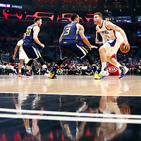 25 March 2016: Utah Jazz guard George Hill (3) defends on LA Clippers forward Blake Griffin (32) during the Los Angeles Clippers 108-95 victory over the Utah Jazz, at the Staples Center, Los Angeles, California, USA.