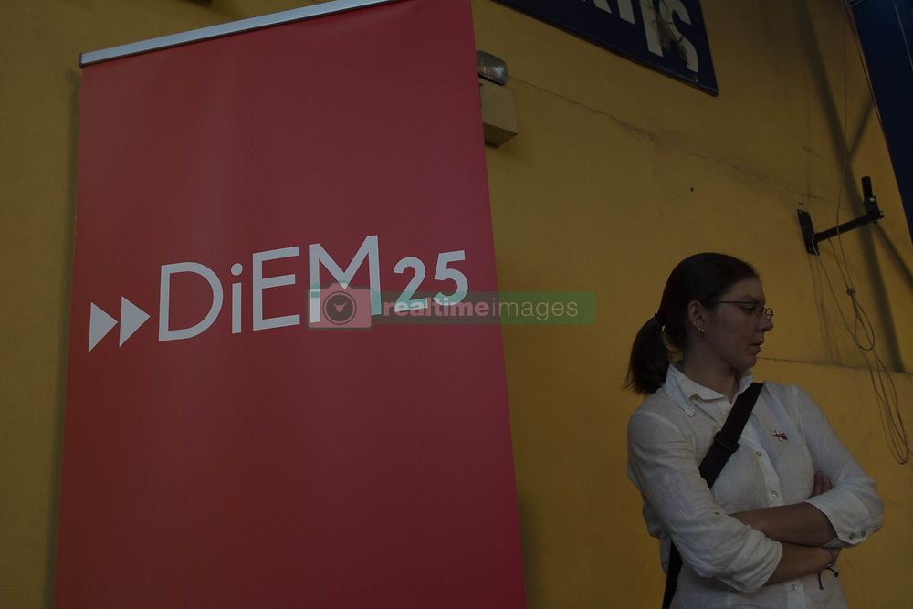 May 19, 2017 - Athens, Greece - Renowned Greek economist, academic and former Minister of Finance Yanis Varoufakis presents in Athens the DiEM25 movement  (Credit Image: © Nikolas Georgiou via ZUMA Wire)