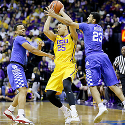 Jan 5, 2016; Baton Rouge, LA, USA; Kentucky Wildcats guard Isaiah Briscoe (13) and guard Jamal Murray (23) pressures LSU Tigers forward Ben Simmons (25) during the first half of a game at the Pete Maravich Assembly Center. Mandatory Credit: Derick E. Hingle-USA TODAY Sports
