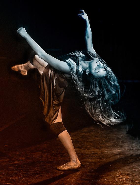 Modern dancer performing.