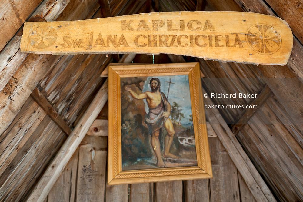 An interior of the small chapel of St. Jana Chrzciciela at the top of on 17th September 2019, near Zakopane, Malopolska, Poland.