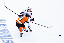 Alexander Nylander of Chicago Blackhawks and Claude Giroux of Philadelphia Flyers during NHL game between teams Chicago Blackhawks and Philadelphia Flyers at NHL Global Series in Prague, O2 arena on 4th of October 2019, Prague, Czech Republic. Photo by Grega Valancic / Sportida