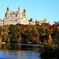 Fall in Central Park, the Beresford on Central Park West
