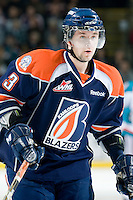 KELOWNA, CANADA, JANUARY 25: Marek Hrbas #3 of the Kamloops Blazers skates on the ice as the Kamloops Blazers visit the Kelowna Rockets on January 25, 2012 at Prospera Place in Kelowna, British Columbia, Canada (Photo by Marissa Baecker/Getty Images) *** Local Caption ***