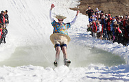 Warwick, NY - A skier raises his arms after crossing the water at the end of a run during the Spring Rally at Mount Peter in Warwick on March 29, 2008.