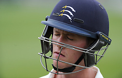 Dejection for Middlesex's Nick Gubbins as he is dismissed for 92. - Photo mandatory by-line: Harry Trump/JMP - Mobile: 07966 386802 - 27/04/15 - SPORT - CRICKET - LVCC Division One - County Championship - Somerset v Middlesex - Day 2 - The County Ground, Taunton, England.