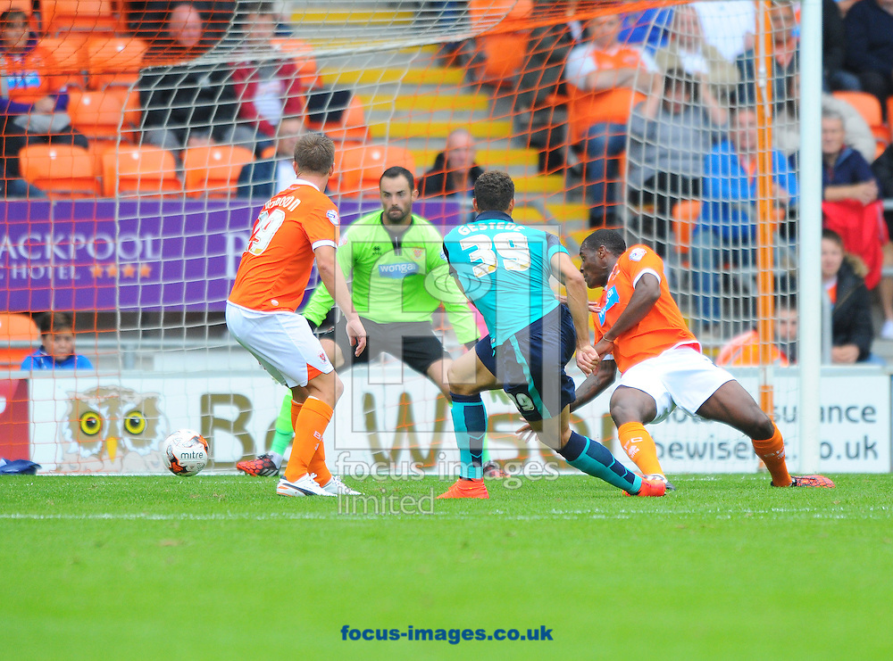 Rudy Gestede Blackburn Rovers (number 39) scores the opening goal of the match during the Sky Bet Championship match at Bloomfield Road, Blackpool<br /> Picture by Greg Kwasnik/Focus Images Ltd +44 7902 021456<br /> 16/08/2014