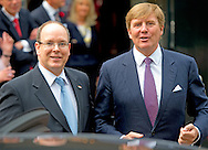 3-6-2014 - APELDOORN  -  Prince Albert II of Monaco leaves at the loo with King Willem Alexander for the opening of the exhibition of Grace Kelly in the loo. Prince Albert II of Monaco in the Netherlands for a two-day visit. COPYRIGHT ROBIN UTRECHT