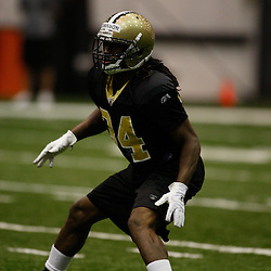 July 30, 2010; Metairie, LA, USA; New Orleans Saints rookie cornerback Patrick Robinson (34) during a training camp practice at the New Orleans Saints indoor practice facility. Mandatory Credit: Derick E. Hingle