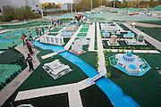 Atameken - Kazakhstan in a nutshell. Visiting school class, Model of the old part of Astana.