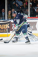 KELOWNA, CANADA - JANUARY 16: Ethan Bear #25 of Seattle Thunderbirds looks for the pass against the Kelowna Rockets on January 16, 2015 at Prospera Place in Kelowna, British Columbia, Canada.  (Photo by Marissa Baecker/Shoot the Breeze)  *** Local Caption *** Ethan Bear;