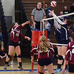 Photos by Tom Kelly IV<br /> Henderson's Hailey Adler (19) spikes the ball over the net during the District One semifinal volleyball game between West Chester Henderson and Upper Merion at Norristown High School, Thursday night October 31, 2013.
