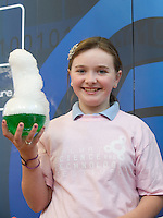 Shania Cunningham  Clontuskert National School, Ballinasloe,  Co. Galway at the Science and Technology Festival programme launch at NUI, Galway  by Mr. William Hawkins, Chairman and CEO of Medtronic Inc., who employ 2000 people in Ireland and 44,000 worldwide in the Medical devices sector. The Festival runs from the 8th till the 21st of November in County Galway. Photo:Andrew Downes.