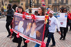 "Westminster, March 17th 2015. Dozens of friends, family members and rights campaigners marchg towards Parliament in a demonstration against laws where ""Joint Enterprise"" can see friends and associates of criminals imprisoned for crimes in which they have had little or no direct involvement."