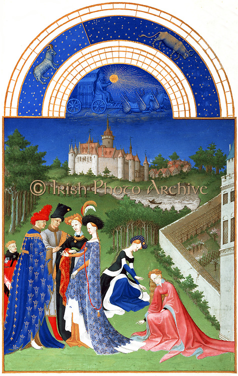 'The Très Riches Heures du Duc de Berry Is a French Gothic illuminated manuscript. The Très Riches Heures is a prayer book created for John, Duke of Berry, by the Limbourg brothers between 1412 and 1416. The book was completed by Jean Colombe between 1485 and 1489. The manuscript is held at the Musée Condé, Chantilly, France. this folio (April)shows a couple exchanging rings in front of two witnesses. In the background stands a castle, referred to as the Castle of Dourdan.'