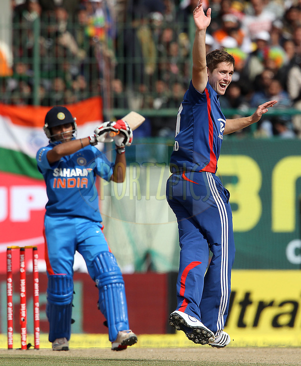 Chris Woakes of England appeals for the wicket of Ravindra Jadeja of India during the 5th Airtel ODI between India and England held at the HPCA Stadium in Dharamsala, Himachal Pradesh, India on the 27th January 2013..Photo by Ron Gaunt/BCCI/SPORTZPICS ..Use of this image is subject to the terms and conditions as outlined by the BCCI. These terms can be found by following this link:..http://www.sportzpics.co.za/image/I0000SoRagM2cIEc