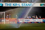 Rainbow in the sprinklers during the EFL Sky Bet League 2 match between Crawley Town and Macclesfield Town at The People's Pension Stadium, Crawley, England on 23 February 2019.