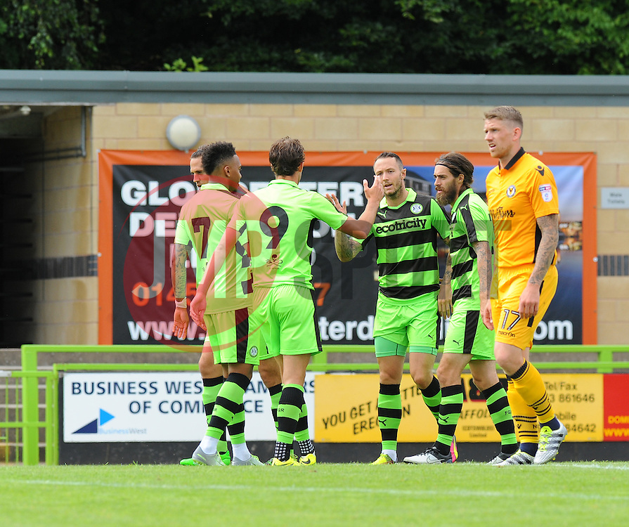 Rhys Murphy of Forest Green Rovers celebrates with team mates  - Mandatory by-line: Nizaam Jones/ JMP - 30/07/2016 - FOOTBALL - The New Lawn- Nailsworth, England - Forest Green Rovers v Newport County - Pre-season friendly