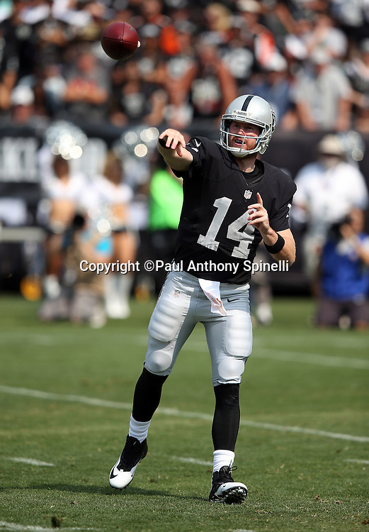 Oakland Raiders quarterback Matt McGloin (14) throws a second quarter pass during the 2015 NFL week 1 regular season football game against the Cincinnati Bengals on Sunday, Sept. 13, 2015 in Oakland, Calif. The Bengals won the game 33-13. (©Paul Anthony Spinelli)