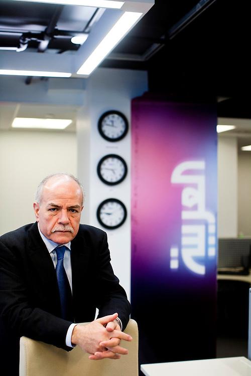 Hisham Melhem, the Washington Bureau Chief for Al Arabiya television, poses for a portrait in the station's Washington studio on Thursday, February 17, 2011 in Washington, DC, USA.